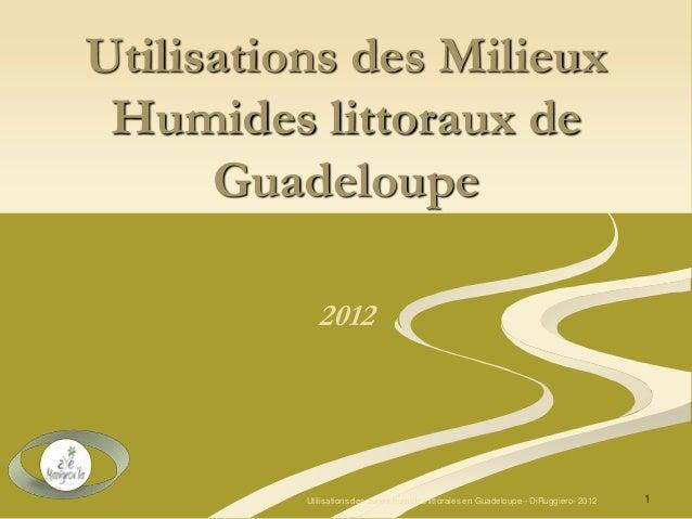Utilisations des Milieux Humides littoraux de Guadeloupe 2012 1Utilisations des zones humides littorales en Guadeloupe-- D...