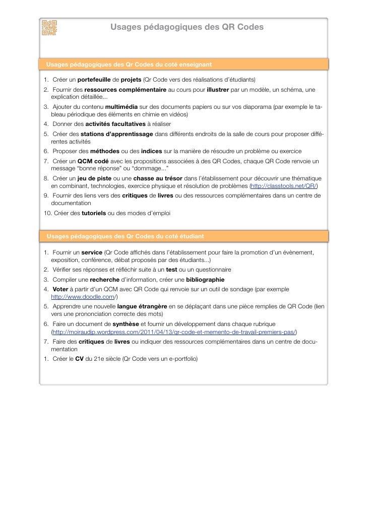 Usages pédagogiques des QR Codes en enseignement supérieur