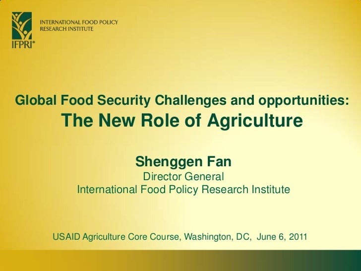 Global Food Security Challenges and Opportunities: the new role of agriculture