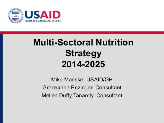 Multi-Sectoral Nutrition Strategy 2014-2025 Mike Manske, USAID/GH Graceanna Enzinger, Consultant Mellen Duffy Tanamly, Con...