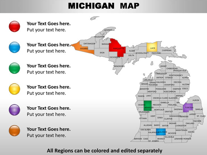Usa Michigan State Powerpoint County Editable Ppt Maps And