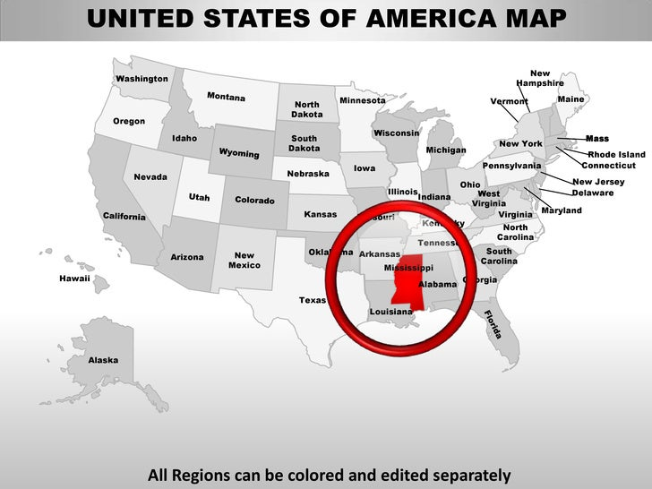 Usa mississippi state powerpoint county editable ppt maps and templates