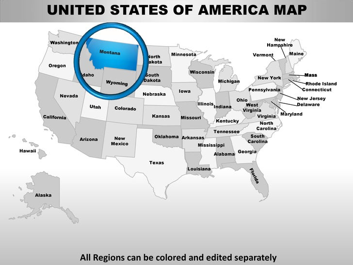 Usa montana state powerpoint county editable ppt maps and templates