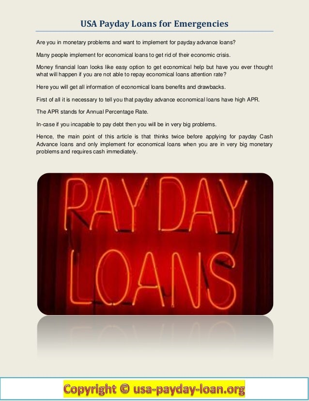 Usa Payday Loans for Emergencies