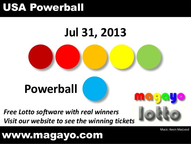 Jul 31, 2013 Powerball www.magayo.com Music: Kevin MacLeod Free Lotto software with real winners Visit our website to see ...