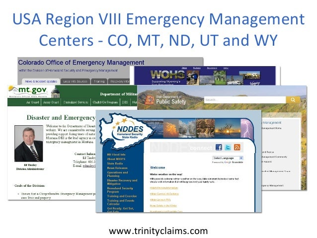 USA Region VIII Emergency Management   Centers - CO, MT, ND, UT and WY           www.trinityclaims.com