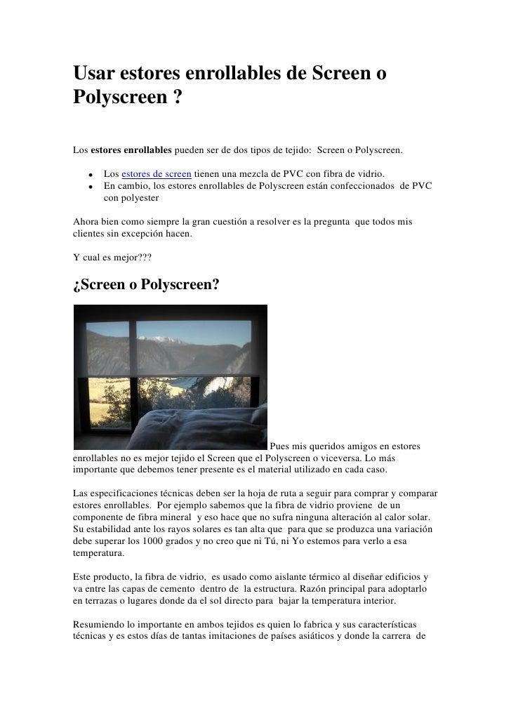 Usar estores enrollables de screen o polyscreen - Estores polyscreen ...