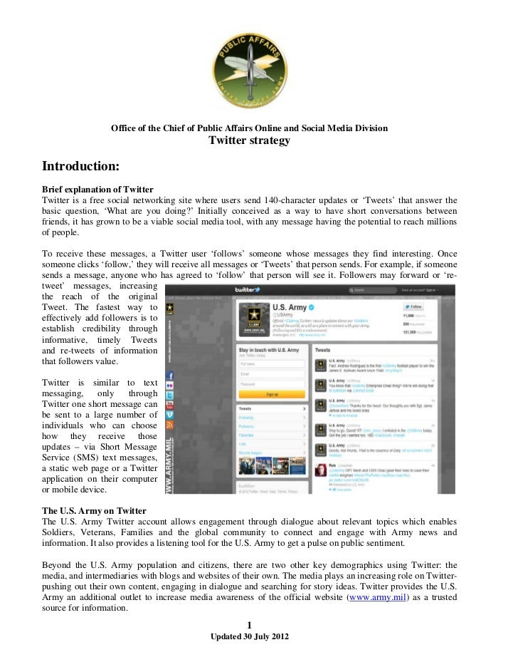 Office of the Chief of Public Affairs Online and Social Media Division                                            Twitter ...