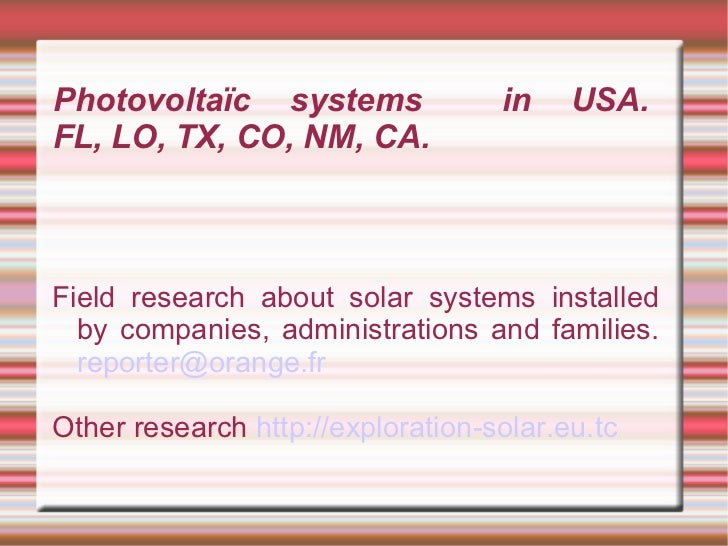USA solar exploration english