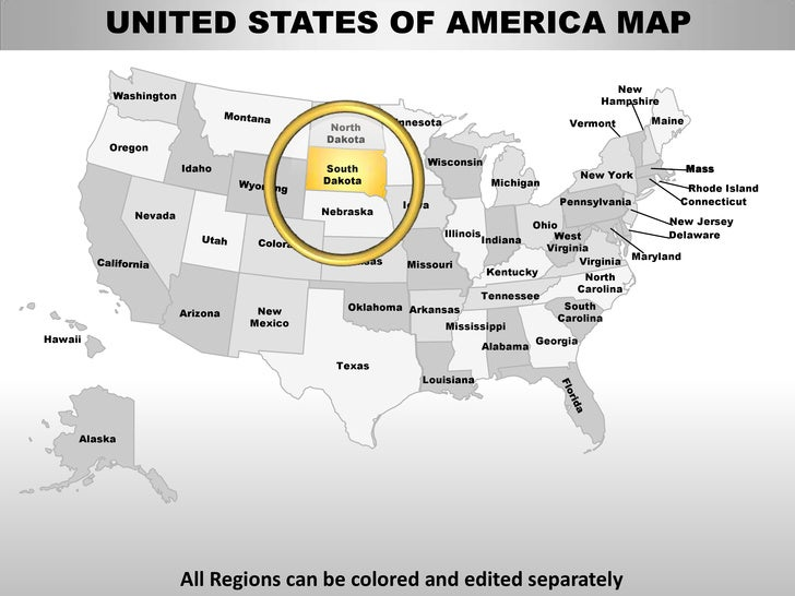 Usa south dakota state powerpoint county editable ppt maps and templates
