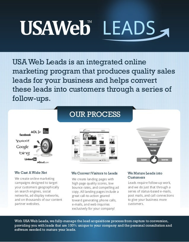 USA Web Leads is an integrated onlinemarketing program that produces quality salesleads for your business and helps conver...