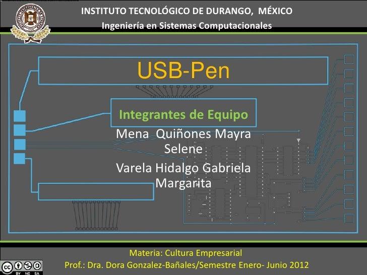 INSTITUTO TECNOLÓGICO DE DURANGO, MÉXICO        Ingeniería en Sistemas Computacionales                 USB-Pen            ...
