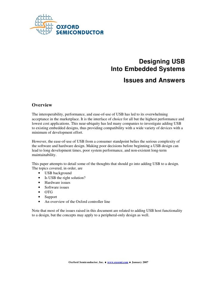 Designing USB                                                        Into Embedded Systems                                ...