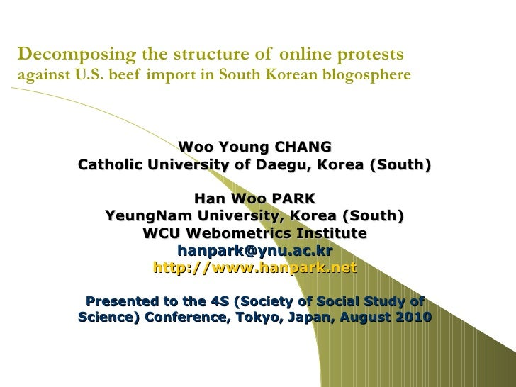 Decomposing the structure of online protests  against U.S. beef import in South Korean blogosphere Woo Young CHANG Catholi...