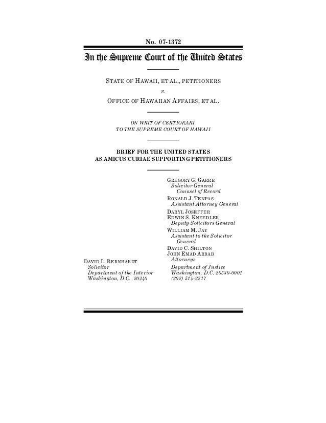 No. 07-1372In the Supreme Court of the United States        STATE OF HAWAII, ET AL., PETITIONERS                          ...