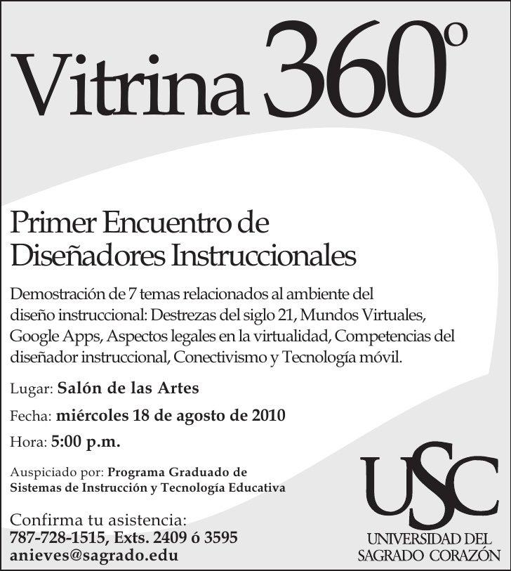 Vitrina 360                                                                o   Primer Encuentro de Diseñadores Instruccion...