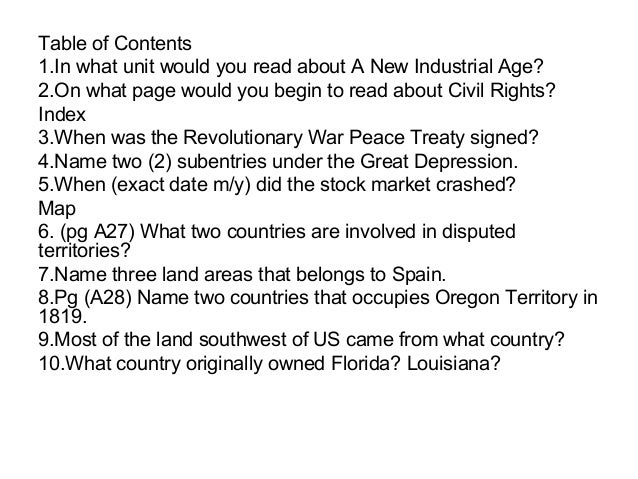 Table of Contents1.In what unit would you read about A New Industrial Age?2.On what page would you begin to read about Civ...