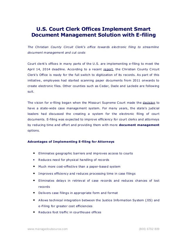 U.S. Court Clerk Offices Implement Smart Document Management Solution with E-filing The Christian County Circuit Clerk's o...