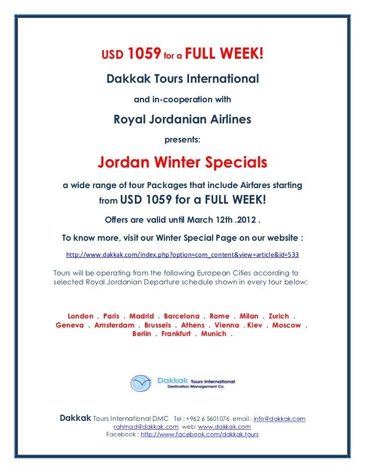 USD 1059 for a full week in Jordan