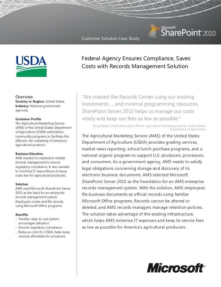 USDA Case Study - SharePoint Server 2010 - ECM and ROI