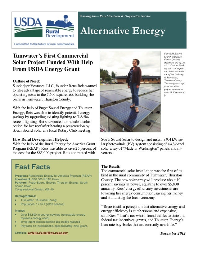 Washington— Rural Business & Cooperative Service                                                Alternative Energy        ...