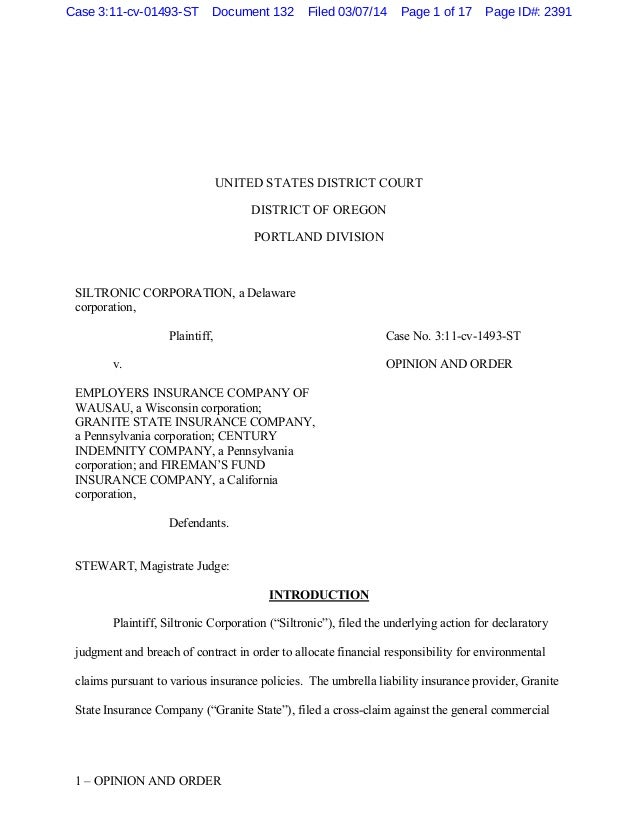 1 – OPINION AND ORDER UNITED STATES DISTRICT COURT DISTRICT OF OREGON PORTLAND DIVISION SILTRONIC CORPORATION, a Delaware ...