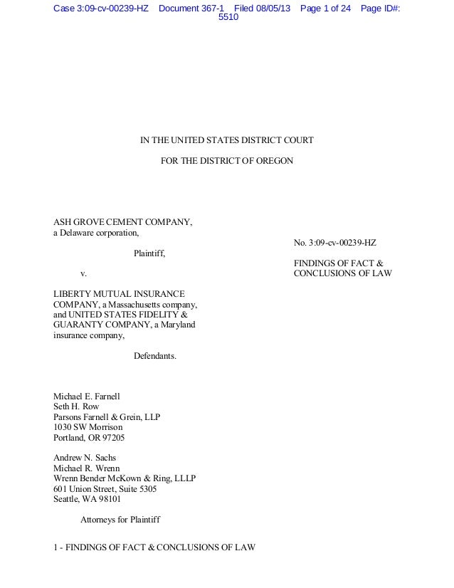 1 - FINDINGS OF FACT & CONCLUSIONS OF LAW IN THE UNITED STATES DISTRICT COURT FOR THE DISTRICT OF OREGON ASH GROVE CEMENT ...