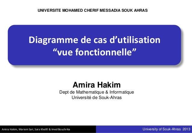 "Amira Hakim, Mariem Sari, Sara Khelifi & Imed Bouchrika University of Souk-Ahras 2013 Diagramme de cas d'utilisation ""vue ..."