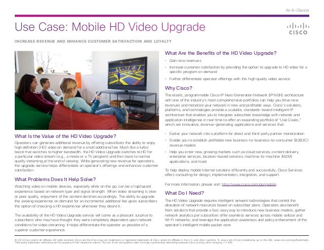 Cisco Use Case: Mobile HD Video Upgrade