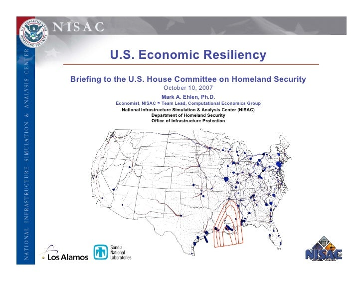 U.S. Economic Resiliency Briefing to the U.S. House Committee on Homeland Security                               October 1...