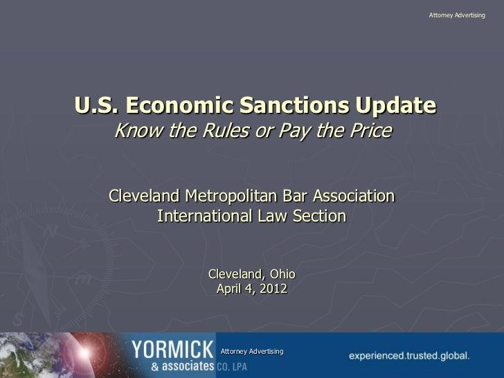 U.S. Economic Sanctions Update
