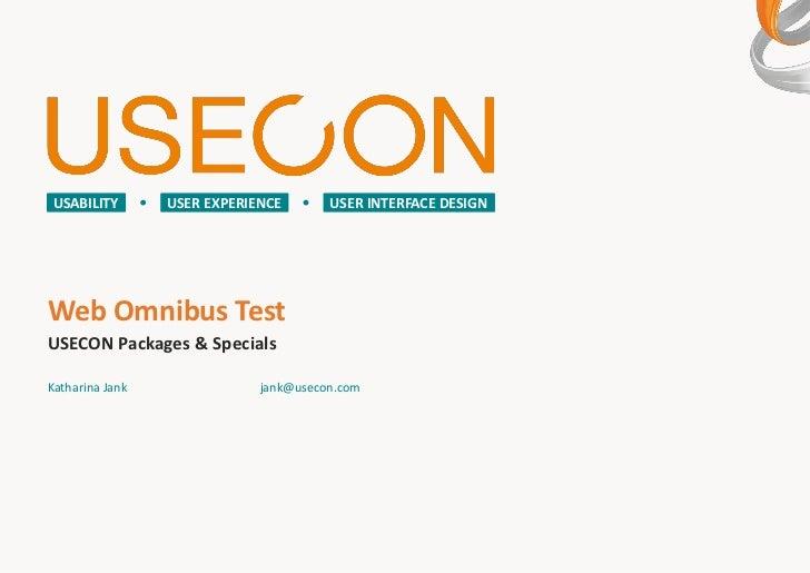 USECON praesentiert den Web Omnibus Test