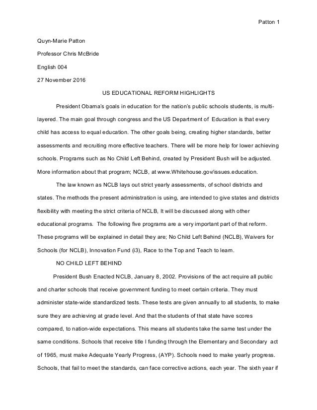 education reform essay