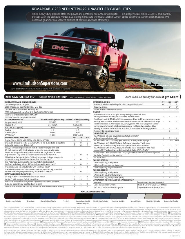 Consolidated Fulfillment Spec Sheet 08-GL-E-0055 Page 1 File Name: 2009 Sierra HD CD: Giordano AD: Phil Lewis CW: Eve Pick...