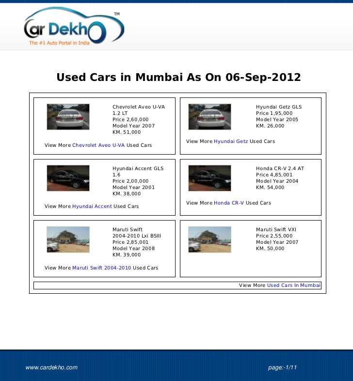 Used Cars in Mumbai As On 06-Sep-2012                              Chevrolet Aveo U-VA                            Hyundai ...