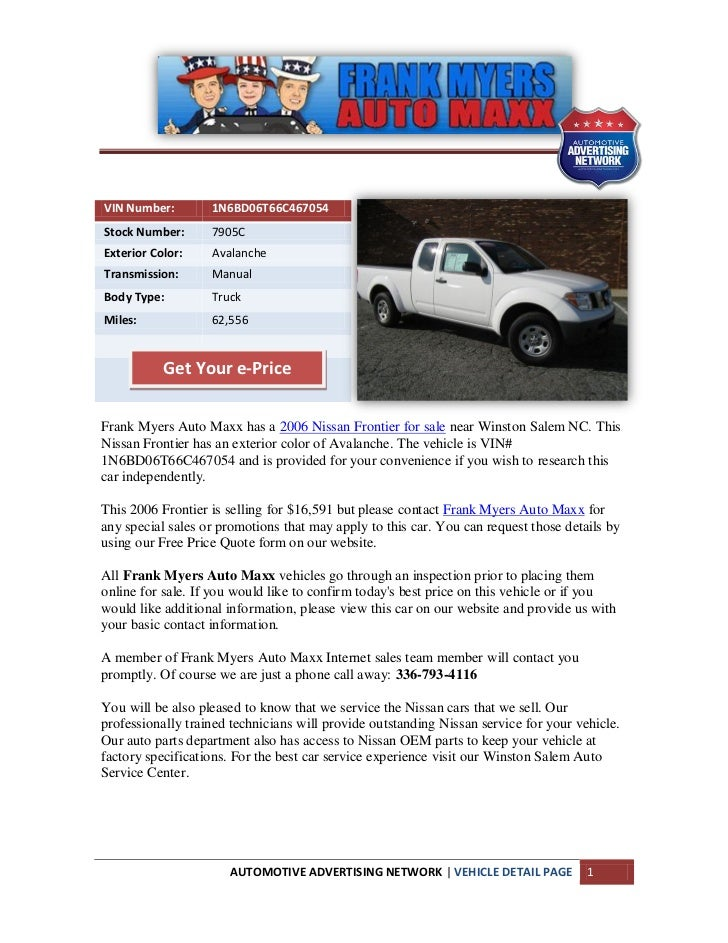 Used 2006 nissan frontier for sale near winston salem nc