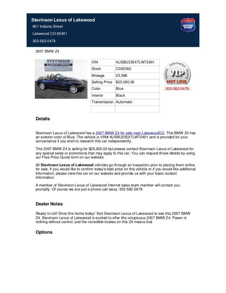 Used_2007_BMW_Z4_For_Sale_Near_Centennial_CO