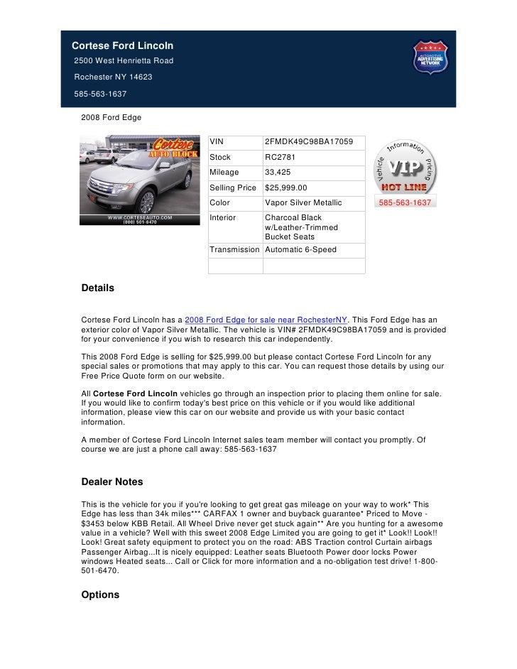 Used+2008+Ford+Edge+For+Sale+Near+Buffalo+NY+-+Stock%23+RC2781