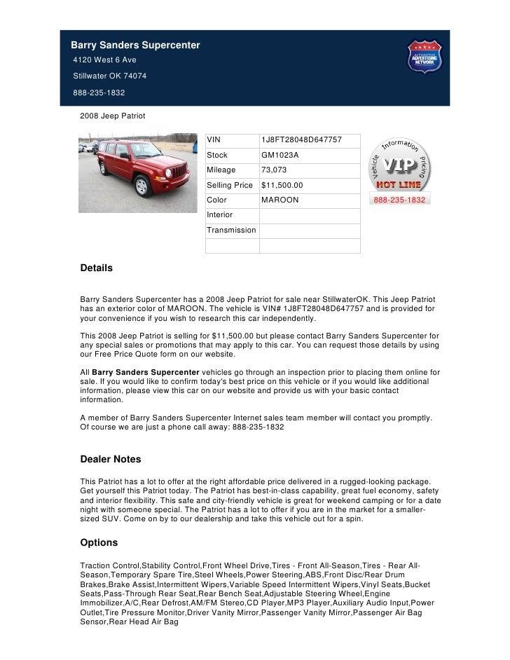 Used_2008_Jeep_Patriot_For_Sale_Near_Tulsa_OK_-_Stock%23_GM1023A