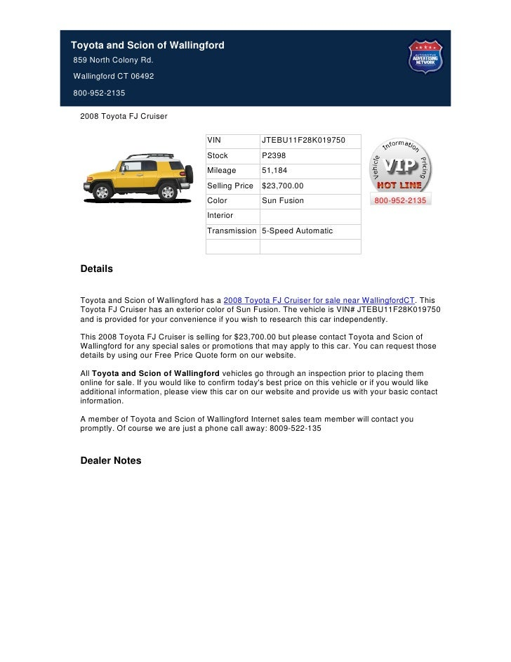 Toyota and Scion of Wallingford859 North Colony Rd.Wallingford CT 06492800-952-2135 2008 Toyota FJ Cruiser                ...