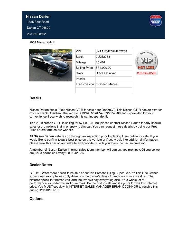 Nissan Darien1335 Post RoadDarien CT 06820203-242-0562 2009 Nissan GT-R                                     VIN           ...