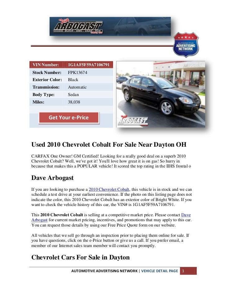 Used 2010 Chevrolet Cobalt For Sale Near Dayton oh