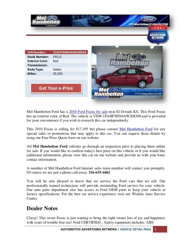 Used 2010 Ford Focus For Sale Near El Dorado KS