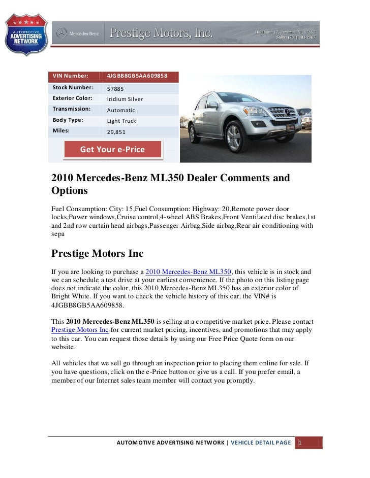 Used 2010 Mercedes Benz ML350 for Sale in Paramus NJ
