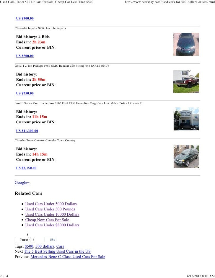 Used Cars For Sale  Dollars Or Less