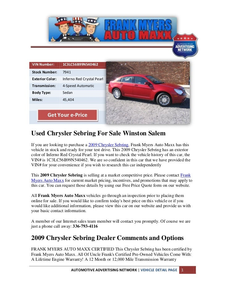 Used chrysler sebring for sale winston salem