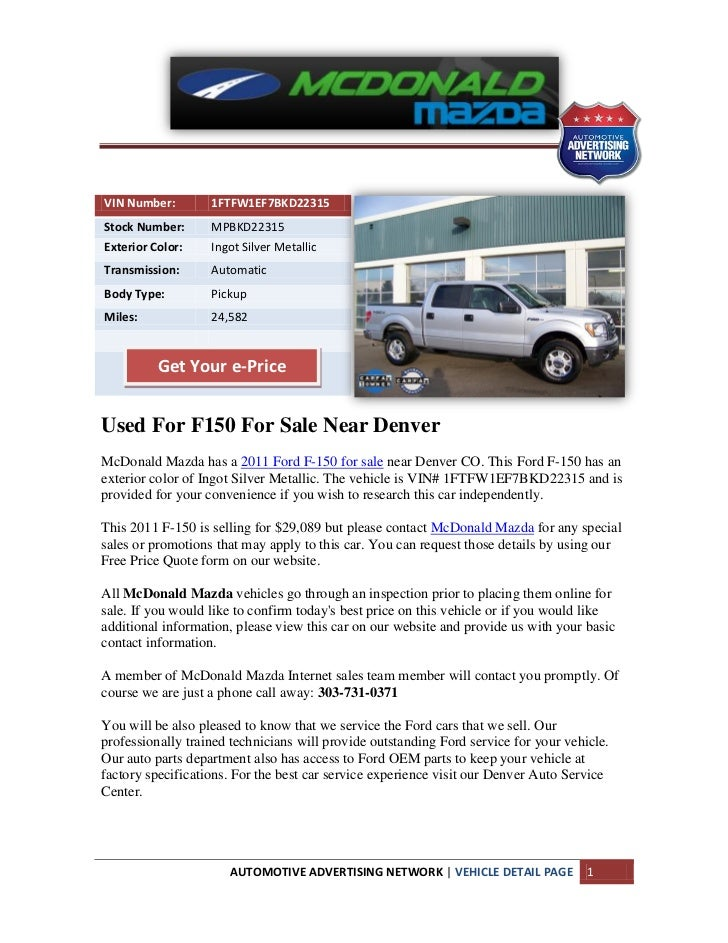 Used for f150 for sale near denver