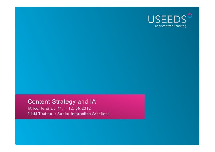 Content Strategy and IAIA-Konferenz :: 11. – 12. 05.2012Nikki Tiedtke :: Senior Interaction Architect