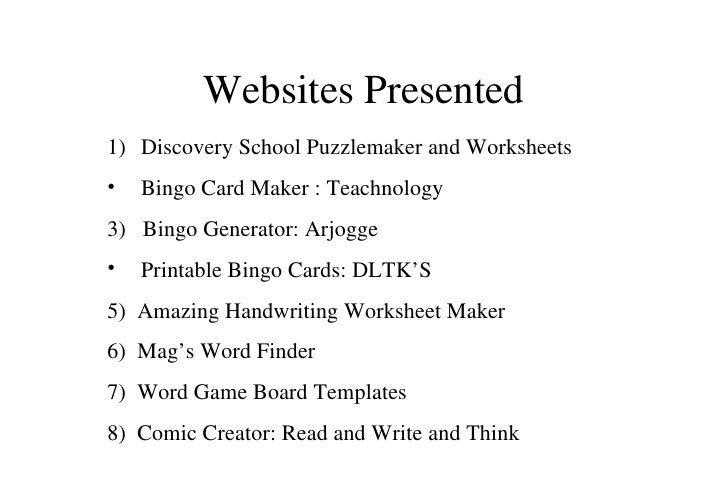 Useful Websites for Materials Creation