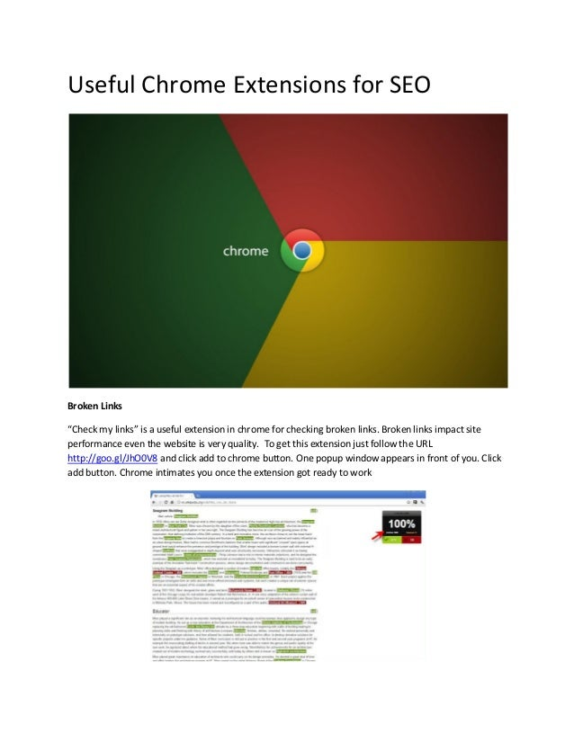 "Useful Chrome Extensions for SEO Broken Links ""Check my links"" is a useful extension in chrome for checking broken links. ..."